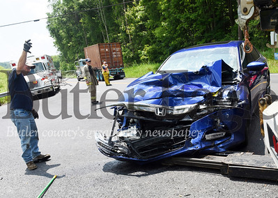 Harold Aughton/Butler Eagle: A two-car accident occured at the intersection of Route 38 and Hohn Farm Road Tuesday, July 9.