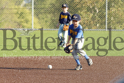 Grayson Northrop gets ready to make a play on a ground ball at shortstop for the 6-8 year-old Mars Brewes in Little League action Monday night in Mars. The Brewers faced off against the Mars Pirates. Seb Foltz/Butler Eagle