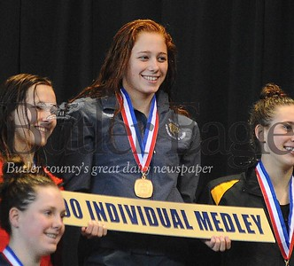 Butler's Laura Goettler gets her first palce medal in  the girls 200 yard IM in the AAA WPIAL Swimming Championship at Trees Pool at Pitt University on Thursday March 2, 2017.(Justin Guido photo)