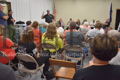 Edward F. Schmitt, vice-president of Gibson-Thomas Engineering, addressed a packed house Monday night at the Bradys Bend Township building. Schmitt, whose engineering firm works with Bradys Bend Township Water and Sewer Authority, attended the meeting at the request of the water authority's board to help explain the situation with the townships water system leading to the month-long water boil advisory affecting hundreds of customers. After a series of heated exchanges, residents asked Schmitt to leave the meeting.