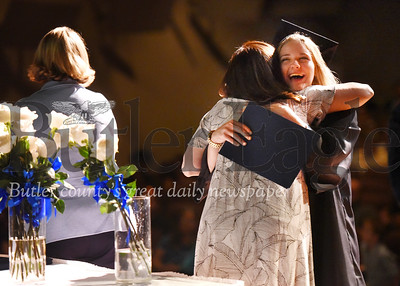Erica Dietz/Special to the Eagle: McHayla Hoffman gives a hug to her adult literacy instructor Rhiannon Baron