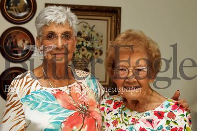 Shirley Grossman and Eleanor Hendler -- Knitting story Seb Foltz/Butler Eagle 07/24/19