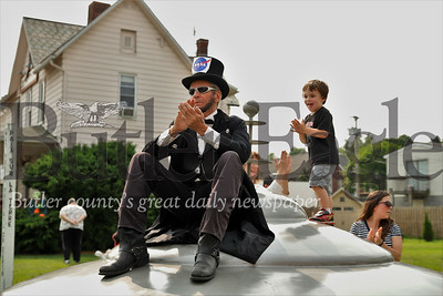 'Abraham Lincoln' applauds NASA scientists during presentation at this year's Mars celebration. Seb Foltz/Butler Eagle