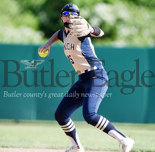Harold Aughton/Butler Eagle: Knoch's senior shortstop, Monica Bourley, #15, prepares to make a routine play to first in last night's 4-0 loss to Grove City High School.