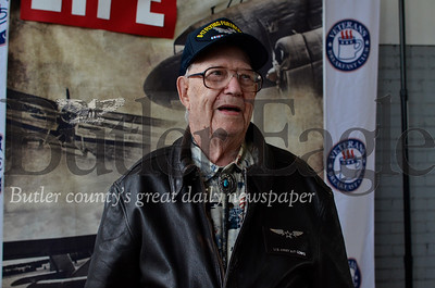 Bob Buckler, 95, poses in a friend's old bomber jacket just to prove he can still pull it off. Buckler was a B-17 tail-gunner in WWII. Tanner Cole/Butler Eagle