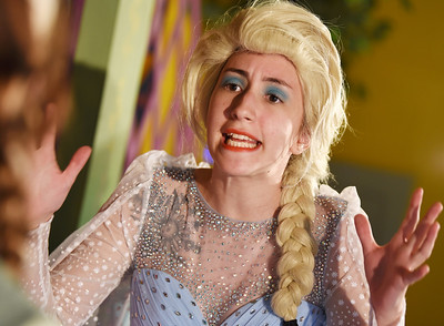 "Harold Aughton/Butler Eagle: Elsa played by Sara Benkart reacts to the news that her sister, Anna, played by Kendra Shidemantle wants to marry in a rehearsal for Sing Hosanna production of Disney's ""Frozen Jr."""