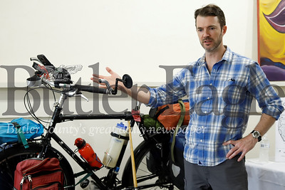 Cyclist and author Chris Register discusses the gear setup for his touring bicycle.  Seb Foltz/Butler Eagle