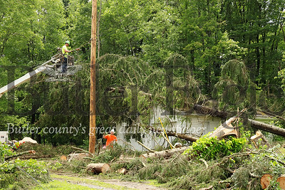Utilities crews sprung to action Monday following the aftermath of Sunday's F1 tornado in Parker. Seb Foltz/Butler Eagle