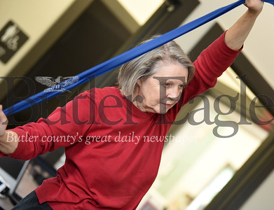 Harold Aughton/Butler Eagle: Betty Honda of Slippery Rock, participates in the Geri-Fit program at the Slippery Rock Community Library.