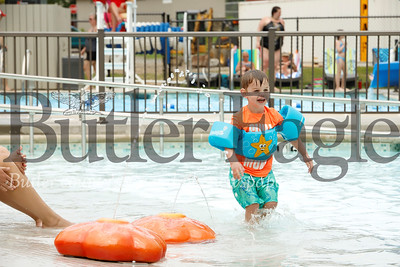 Owen White, 3, of Zelienople enjoys a splash session in the Zelienople Community Pool Monday, June 24. The newly renovated pool opened for the season last weekend. Seb Foltz/Butler Eagle