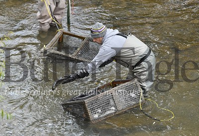 29753 Dave Andrews a Butler Intermediate school science teacher realeases 200 trout into Thorn creek in Penn Twp