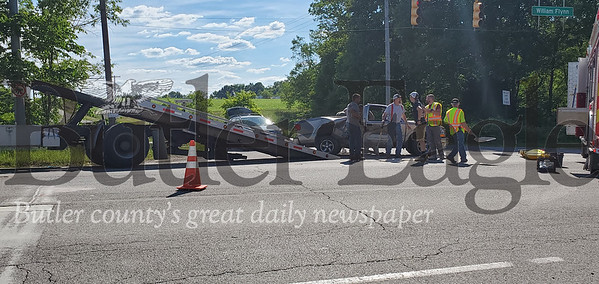An accident on Route 8 sent two riders of a motorcycle to the hospital after they collided with the side of a truck. Nathan Bottiger/Butler Eagle photo 3