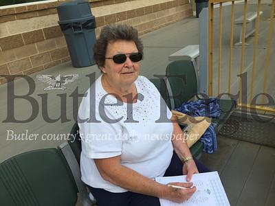 Cutline: Doris Williams prepares her scorebook while waiting for the start of a Butler BlueSox game against the Butler Iron Bucks at Pullman Park.Derek Pyda photo  0619_spo_pullman5