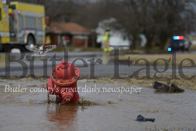 Water from the hydrant flowed into the road as emergency crews worked to repair the damage and fire department officials controlled traffic. photos by Caleb Harshberger