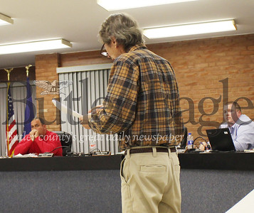 Resident David Fowler arguing before supervisors that the Grey Hawk housing development plan didn't follow the township code, citing sections of the township comprehensive plan that emphasized preserving the rural areas. photos by Caleb Harshberger