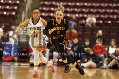 North Catholic's #2 Emma Pospisil brings the ball down court.