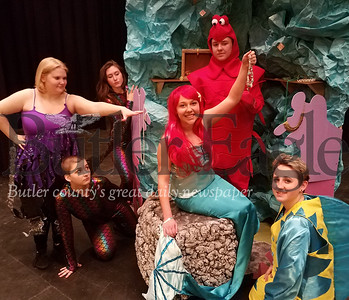 "The cast of Moniteau High School's musical ""The Little Mermaid"" are, from left Elle O'Donnell as Ursula, Ashton Huff as Jetsam, Dakota Sargent as Flotsam, Camille Baptiste as Aerial, Maverick Sutton as Sebastian and Ashton Fry as Flounder. PHOTO BY ERIC FREEHLING"
