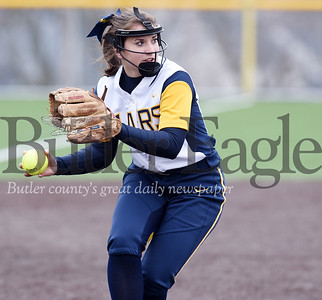 Harold Aughton/Butler Eagle: Mars pitcher, Emilee Waldrop, fields a bunt during last night's game against Knoch.