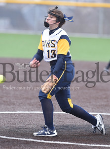 Harold Aughton/Butler Eagle: Mars pitcher, Emilee Waldrop, delivers the pitch during last night's game against Knoch.
