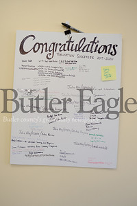 Congraulation Board  CUTLINE: In the Siren newsroom at Lincoln Park Performing Arts Center, the students have a congratulation board for when a story is published.Photo by Lauryn Halalahurich/Butler Eagle