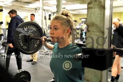Butler sophomore javelin thrower Kaylin Homa squat lifts during a workout for indoor track. Seb Foltz/Butler Eagle 02/11/20