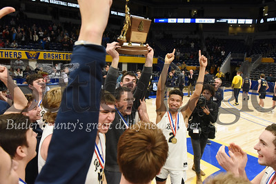 Harold Aughton/Butler Eagle: Butler boys basketball team celebrates the teams first WPIAL Championship win in 29 years at the Petersen Event Center, Saturday, Feb. 29, 2020.
