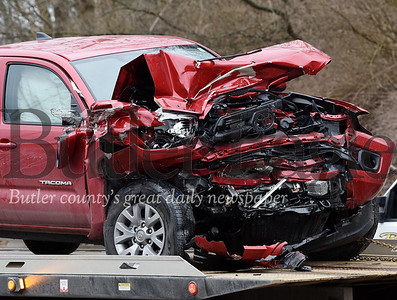 Harold Aughton/Butler Eagle: Two trucks collided in a head-on crash near the intersection of Route 8 and Staff road in Brady Twp., Monday, March 2, 2020.