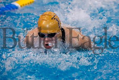 Laura Goettler, Butler, 200 IM individual swimming butterfly.  WPIAL Championships at University of Pittsburgh Thursday. Seb Foltz/Butler Eagle 02/27/20