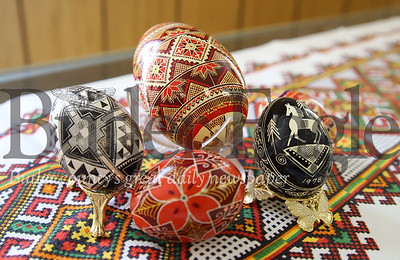 Samples of the Saints Peter and Paul Ukrainian Orthodox Church collection of Pasaky eggs. Seb Foltz/Butler Eagle
