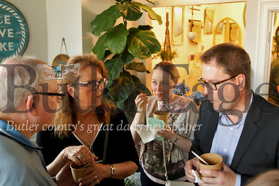 Mayor Johannes Bruns (right), Nancy Krug of Mulhausen, Germany chat with Saxonburg mayor William Gillespie and his wife Sue Gillespie at Batch restaurant in Saxonburg. Seb Foltz/Butler Eagle