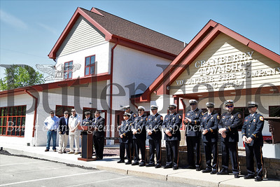 Fireman stand at attention for building dedication ceremonies Saturday. Seb Foltz/Butler Eagle