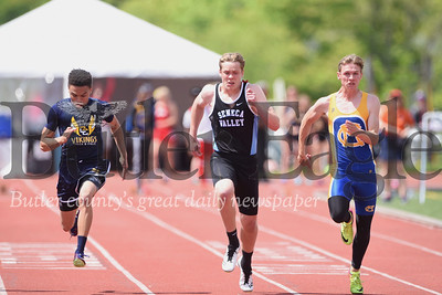 Freshman Tyler Yurich of Seneca finished first in 100 meter. Jahmaine Hatten of Central Catholic  was second (left). Kamden Martin of Canon Mac third (right) Seb Foltz/Butler Eagle
