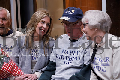 Judge candidate Jennifer Gilliand Vanasdale chats with her mother Sandy Gillian (right),  father Don Gilliand (left) and Joe McCloskey the former CYS director that assisted with Vanasdale's adoption at her Main Street campaign headquarters. Seb Foltz/Butler Eagle