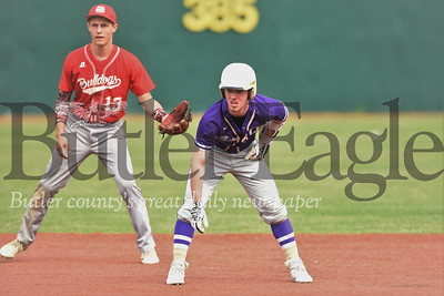 Karns City's Steve O'Donnell  leads off second base in the Gremlins 17-2 playoff win over Redbank. Seb Foltz/Butler Eagle