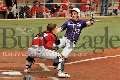 Karns City's Steve O'Donnell beats the ball with a slide at the plate, scoring one of the team's 17 runs. The Gremlins topped Redbank 17-2 in 3 innings. Seb Foltz/Butler Eagle