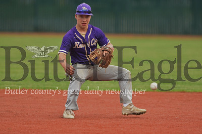 Connor Schaffner fields a ball from second base in the Gremlins 17-2 playoff win over Redbank. Seb Foltz/Butler Eagle