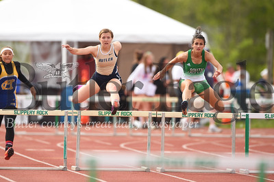 Anna Baxter of Butler finished 4th in 300 hurdles. Amy Allen  of South Fayette(right) finished 3rd. Seb Foltz/Butler Eagle