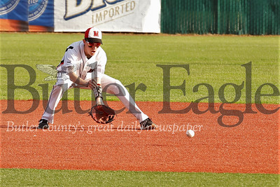 Moniteau's Tanner Williams fields a ball at second before throwing a runner out at first. Seb Foltz/Butler Eagle