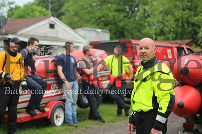 Mark Adomaitis, chief of the Butler County Water Rescue Team 300 is pictured here with members of the water rescue team. The 21 member team rescued around 25 people Tuesday night and Wednesday morning.