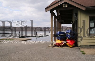 With the access road blocked off Moraine State Park's marina and boat rental at Cresent Bay on the North Shore sits empty during the COVID-19 outbreak. Photo Saturday 4/18/20  Seb Foltz/Butler Eagle