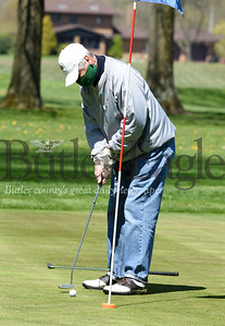 Harold Aughton/Butler Eagle: Tom Hunsberger attempts a putt at Saxony Golf Course on Saturday, May 2, 2020.