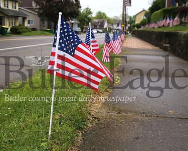 Flags line the road at a home on East Jefferson St. outside of Butler. Seb Foltz/Butler Eagle