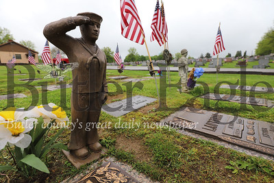 A sailor statue stands watch over the grave of Raymond Black at the Calvary Cemetary in Butler. Seb Foltz/Butler Eagle
