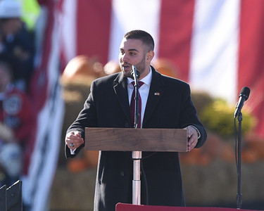 Slippery Rock Mayor Jondavid Longo addresses the crowd prior to delivering the Pledge of Allegiance during President Trump's visit to Butler. Seb Foltz/Butler Eagle