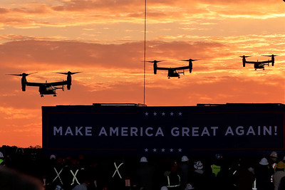 Osprey military helecopters arrive in advance of President Donald Trump at Saturday's campaign rally at Pittsburgh Butler Regional Airport. Seb Foltz/Butler Eagle