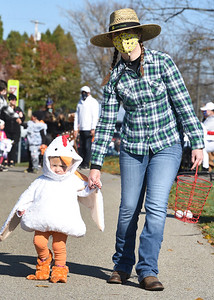 Jacquelyn Lojek and her 20-month-old daughter,  Lakelyn, of Middlesex Twp. took part in the Adamps Twp. Hallloween parade Saturday, October 31, 2020. Harold Aughton/Butler Eagle