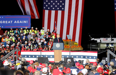 President Donald Trump speaks to a large crowd during his Butler County rally Saturday at the Pittsburgh-Butler Regional Airport Saturday. Seb Foltz/Butler Eagle 11/01/20