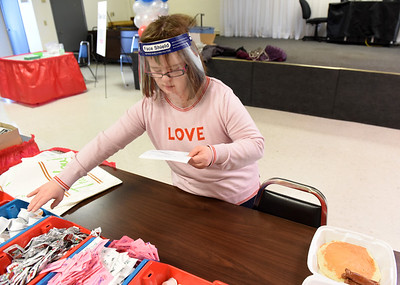 Mackie Eberle of the transition program at Lifesteps volunteered serving breakfast for the 61st annual Election Day Pancake Festival sponsored by Lifesteps and the Butler Rotary club.  Harold Aughton/Butler Eagle.