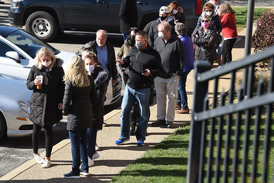 Long lines wrapped around both sides of the Adams Twp. Municipal building during Election Day, Tuesday, Nov. 3, 2020. Harold Aughton/Butler Eagle.