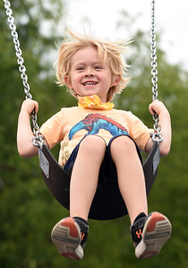 Harold Aughton/Butler Eagle: Tristan Reuschlein,5, of Butler was all smiles as his mother Christian Reuschlein pushed him on the swings at the Adams Twp. Community Park Tuesday, September 1, 2020.